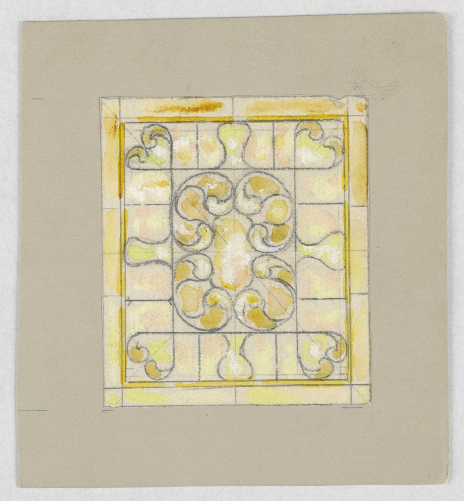 Design in square in yellows with C-scrolls at center.