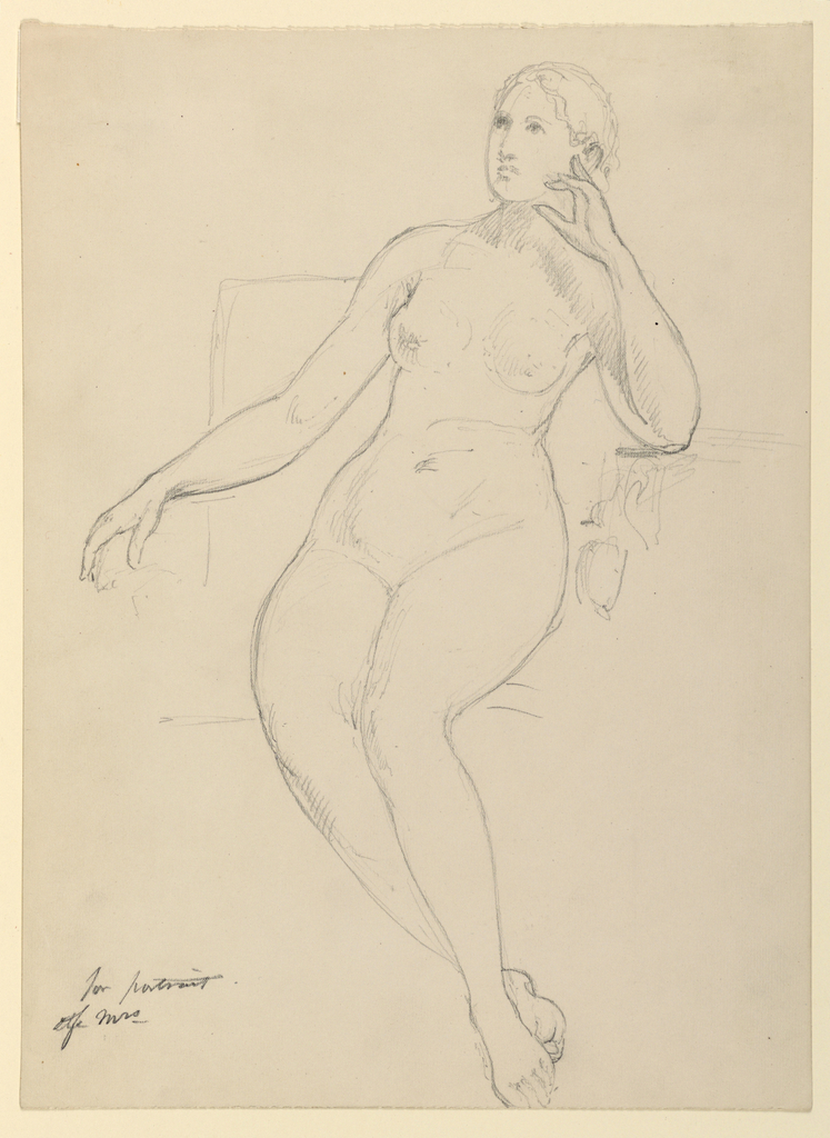 Drawing, Female Nude Seated, 1870–80