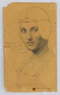 Bust of a young woman, turned towards left, with gaze directed to viewer. Face shaded, with hair and upper torso outlined.