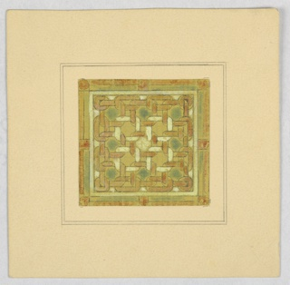 Square window of yellow, green and white weave.