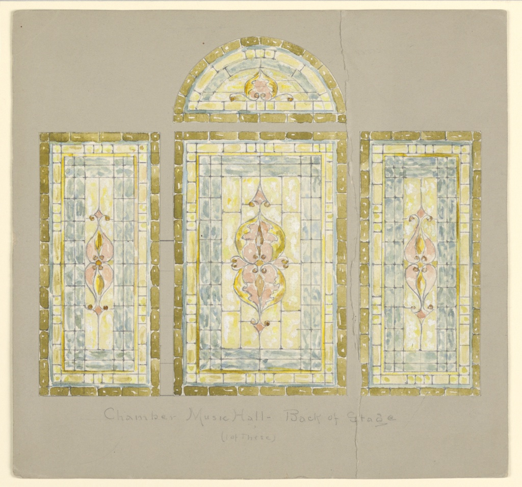 Four windows; three rectangular windows of blue and yellow glass with central petals in pink; above central window, a lunette window with similar decoration.