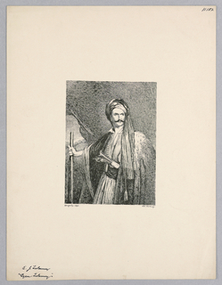 Portrait of Edward John Trelawny holding a staff and wearing a head wrapping that drapes down in front of his shoulder.