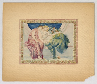 Two sleeping women leaning on each other, dressed in classical robes—one in pink and the other in green and yellow. They sit within a circular area on blue ground.