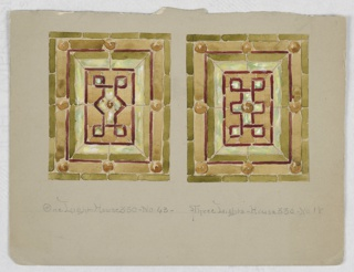 Two square windows in green, yellow, and frames of burgundy, knotted designs at center.