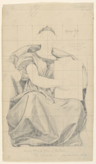 A female figure is seated holding a folio in an upright position. The paper is squared for transferring the image.
