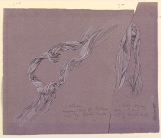 Sketch of a long narrow section of drapery, knotted below.