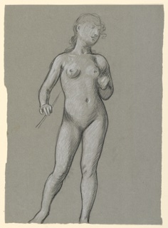 Full-length figure of a nude girl, standing, turned slightly to the right. Her right hand holds a wand-like object. The paper has been torn away below, cutting off the feet at the ankle line. Reverse- sketches of head of girls.