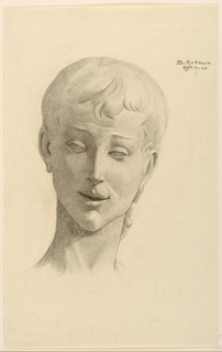Drawing from a cast. Head of the statue, shown frontally.