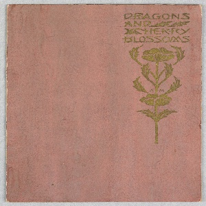 Gold text in upper right: DRAGONS / AND / CHERRY / BLOSSOMS; and flower, on peach colored ground.
