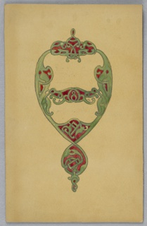 On yellow ground, green knotted design in shape of teardrop with red.