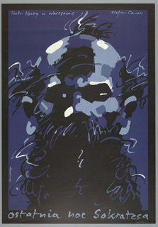 """Navy blue poster with black border. In center, a man's bearded face made out of rough spots of color in black, light blue and white. Across top in light blue, text reads: Teatr Nowy w Warszawie Stefan Canes."""" Across bottom in light blue, text reads: """"Ostatnia noc Sokratesa."""""""