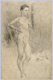 Study of young, standing man in a loincloth, facing slightly right, holding a section of wood in his left hand, his right hand on his hip.