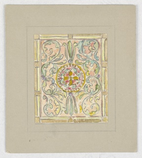 Square window design with C-scrolls in blue and green; at center circular medallion in yellow with tulips.