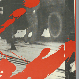 """Black and white image of a film negative across entire poster, showing men carrying signs. In bottom left, a splatter of red with white text on top. In top right, text reads: """"TEATR NOWY"""" (NEW THEATRE) in white and """"w Poznaniu"""" (in Poznań, Poland) in black. Text across bottom reads """"Oskarzony:/ CZERWIEC PIECDZIESIATSZESC"""" (Accused June Fifty-Six) in white."""