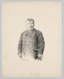 Portrait of M. Daubray from the waist up wearing a buttoned-up coat and holding a hat in his right hand.