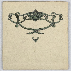 Hanging feature composed of intertwined greenish gray snakes, at the top a dragon head. Verso: graphite sketches.