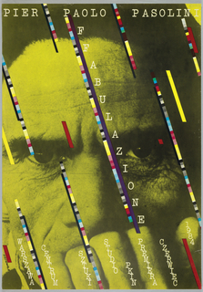 """Poster dominated by yellow-tinted photograph of man's face with closed fist covering his mouth. Diagonally across image, colorful stripes, accompanied by diagonal text in white reading: FABULAZIONE/ WARSZAWA/ CENTRUM/ SZTUKI/ STUDIO/ PKIN/ PREMIERA/ CZERWIEC/ 1984. Text across top in white reads: """"PIER PAOLO PASOLINI."""""""