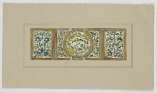 Design with tripartite panels, all containing vines with blue flowers on yellow ground; at center, circular frame with green wreath.