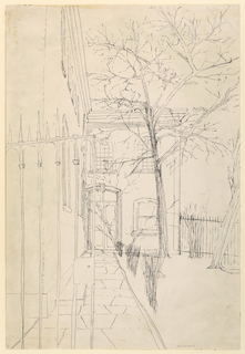 """Vertical rectangle. View through a garden gate of a two-storied building shown obliquely at left. Signed (in pencil), lower right: """"Heydeker""""."""