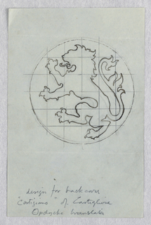 Outline of rampant lion, facing left, within circular frame. Squared for transfer.