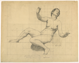A nude female figure is reclining with arms extended. The paper is squared for transferring the image.