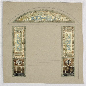 Design of two vertical rectangles (posts) topped with a lunette (semi-circle). All are painted in chartreuse, yellow and light blue. The two posts have additional design in the lower third in dark brown with a cross within a circle.