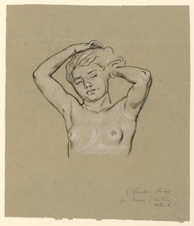 """Bust-length nude figure of a girl, facing  the spectator. Her arms are upraised, in the act of arranging her hair. Signed and inscribed in pencil, lower right: """"E. Vedder study / for Venus (ceiling detail).""""  (refers to Collis P. Huntington ceiling, commissioned Aug. 1892, finished by Sept 1893, now at Yale)"""