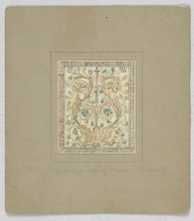 Design in square filled with tan leaf scrolls with small green leaves, framed by mosaic-like border in tan.