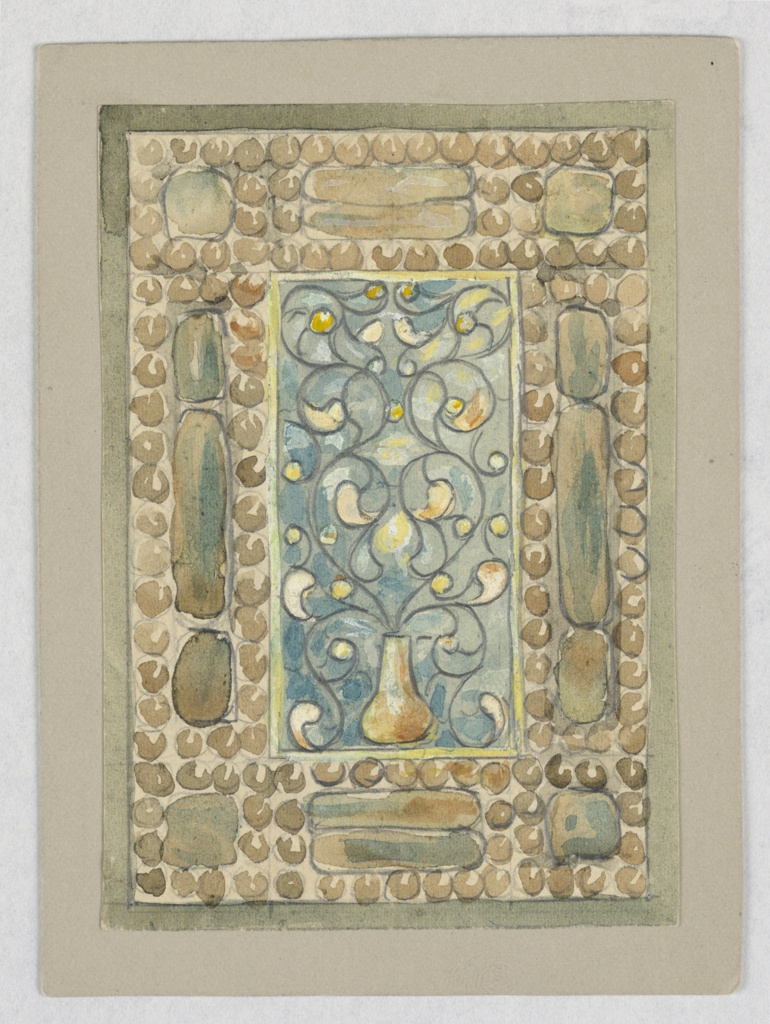 Design with rectangle at center made up of blue and gold, vase with curled vines; surrounded by frame filled with gold-green circles.