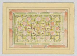 Rectangular window in green, yellow and salmon, in woven pattern.