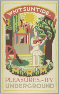 Poster design encouraging travel during the summer holiday, Whitsuntide, via the London Underground. At center, Harlequin plays a guitar before a bed of blooming flowers. A castle is visible behind the figure. Text in white, upper center: WHITSUNTIDE; in pink and tan: PLEASURES BY / UNDERGROUND