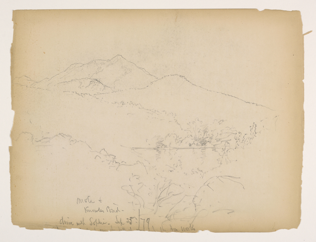 Pond seen through bushes, with hill beyond and mountain slightly left. Verso: Outlines of hills.
