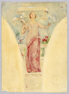 Mural study for pendentive. Female figure in a two-tone pink dress, standing before a railing and flowers, facing frontally. She holds a spindle and thread. Behind her at left, a spider weaves a web.