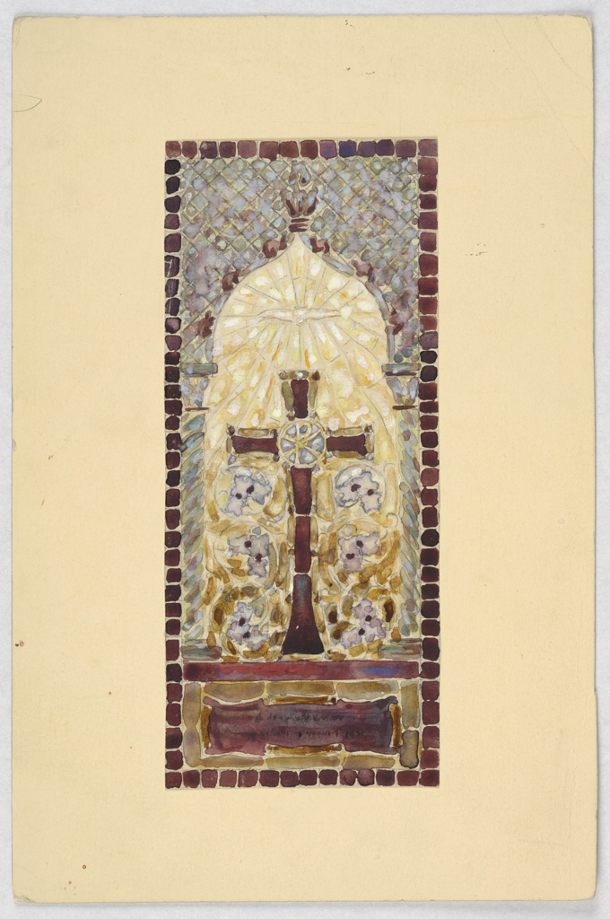 Design of cross on mantel on yellow ground and mosaic like pattern in gray and blue, framed by black stone-like border.