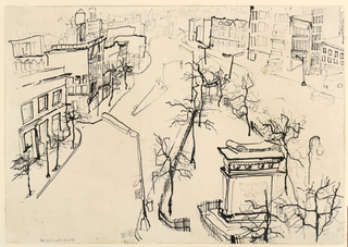 """Horizontal rectangle. View taken from about the third floor, Southeast corner of the Foundation Building, looking down upon the junction of Third and Fourth Avenues. Signed (in ink), lower left: """"Sachmann Hagen""""."""