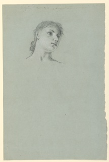 Vertical rectangle. Head of a young girl, turned sharply to the right and slightly upward. Sketch of figure of girl, reverse.