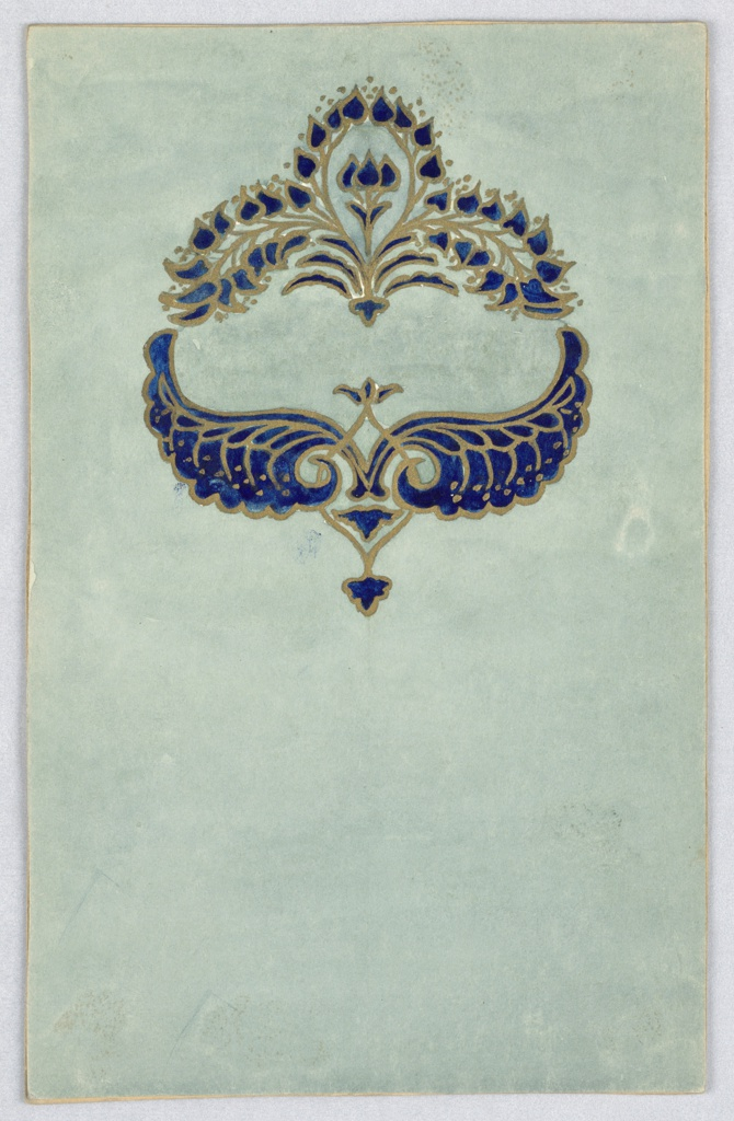 On a light sea foam ground, dark blue and gold crown-like design composed of small spade shaped leaves and wings outlined in gold.