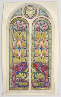 Design of arched window with separate panels, all framed by orange and red; two vertical panels identical designs of spade-shaped pattern with purple vines, mandorlas at center of yellow ground, with C-scrolls below. Upper circular panels contains 4-lobed flower in purple and green.