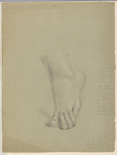 Left foot in motion, center, with heel raised and weight on toes. Verso: Study of right foot.