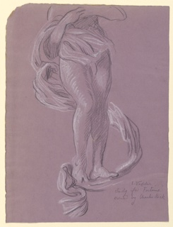 The lower section of a woman's figure, a long section of drapery swirling about her and extending beneath her feet.