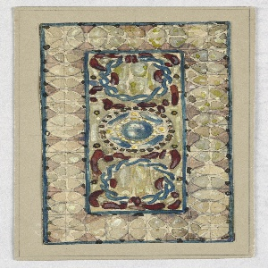 Rectangular design; central rectangle containing twisted blue vines in circular form, central circle with solid blue circle and red dots.