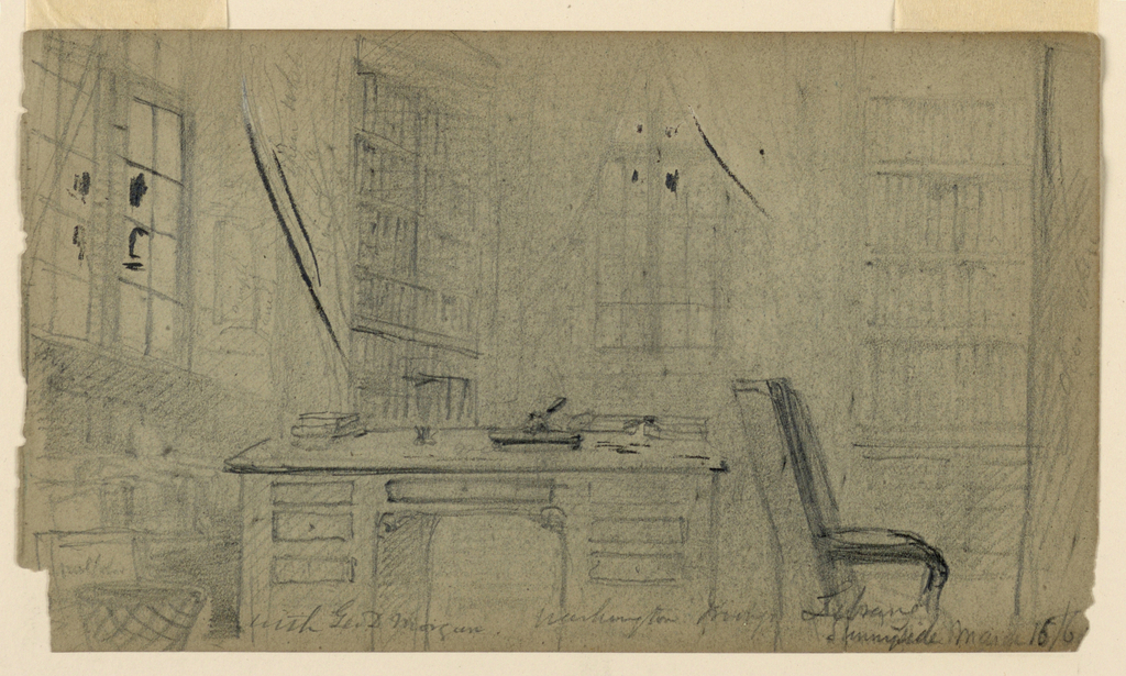 A library with a desk in the center and a chair to the right, before windows and bookshelves.