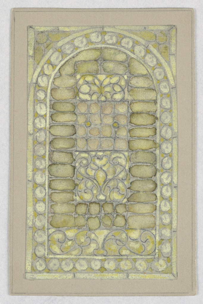 Design with arched top, framed with light green-blue circles; containing rows of rounded rectangles, vines with green.