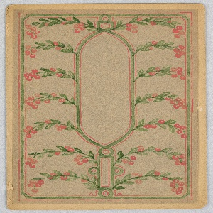 On tan ground, vertical empty oval box at center framed by green and red lines; surrounded by frame of green leaves and bright red berries.