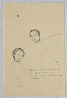 Two busts of Chinese women. One, center, turned slightly to the left. The other, lower left, facing slightly to the right. Comments on facial structure and the collar style.