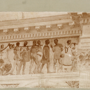 Photograph of frieze that shows classical procession. Some nude figures.