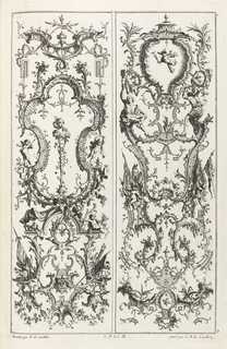 Two vertical panels with grotesque designs, which include several putti, flags, and framing elements; on the left, a cartouche with lattice-work pattern. Delicate vegetal decoration throughout.