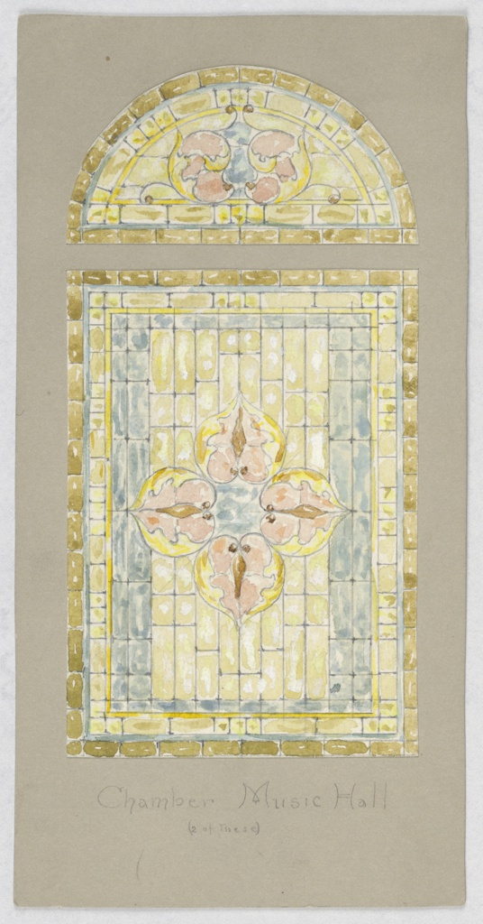 Rectangular glass window in yellow and blue; at center four petals; above, lunette in multicolored glasses with blue and pink.