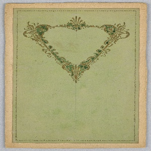 On a green ground, triangular cartouche composed of two torches and ribbons in gold and black.