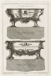 Design of elevation and plan of two commodes, decorated with foliage.